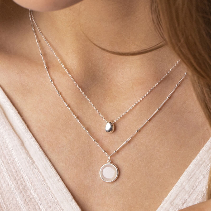 925 Silver chain necklace with silver drop