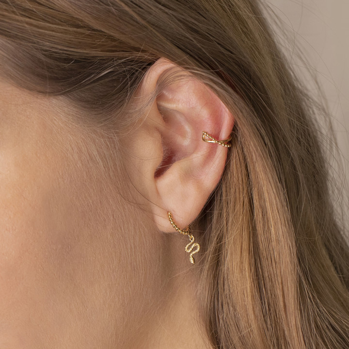 Gold-plated [Single] beaded and crossed open earring