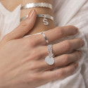 925 Silver large flat medal on triple beaded ring
