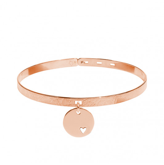 Brushed lock bangle with small hollowed heart medal