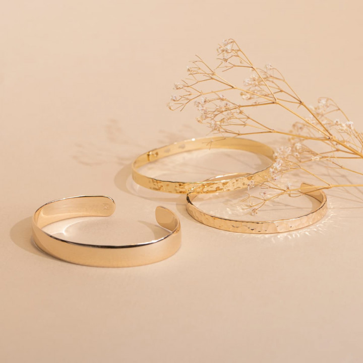 Gold-plated thick open bangle bracelet