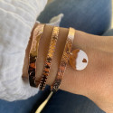 Rose gold-plated brushed lock bangle with small hollowed star medal