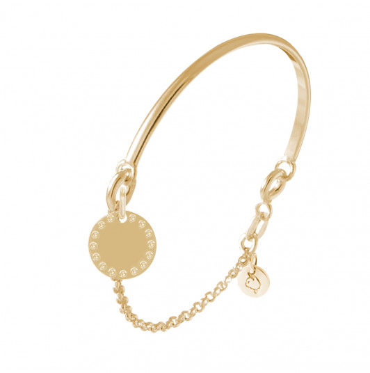 Half bangle and chain bracelet with beaded medal