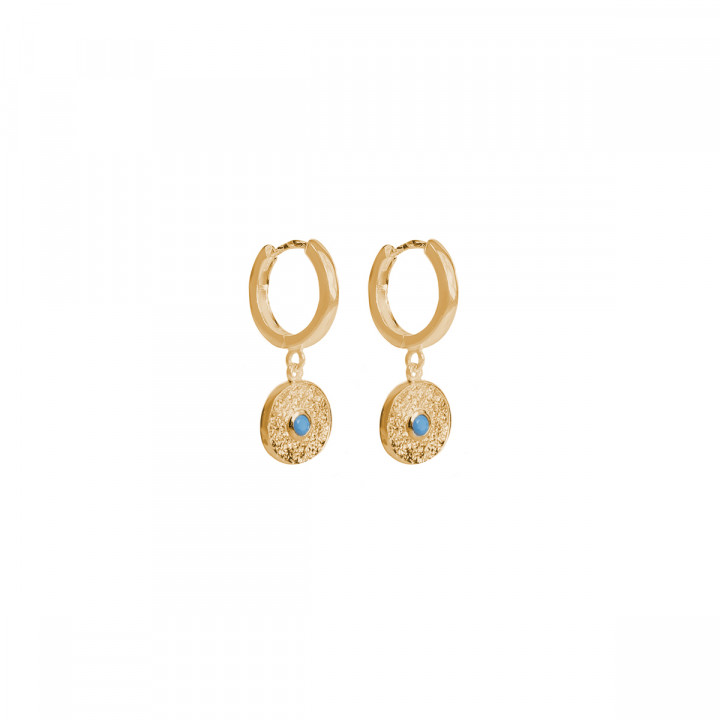 Gold-plated Turquoise & textured medal hoop earrings