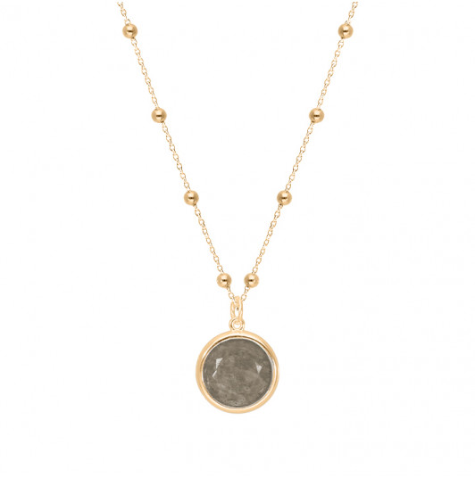 Beaded chain necklace with Labradorite medal
