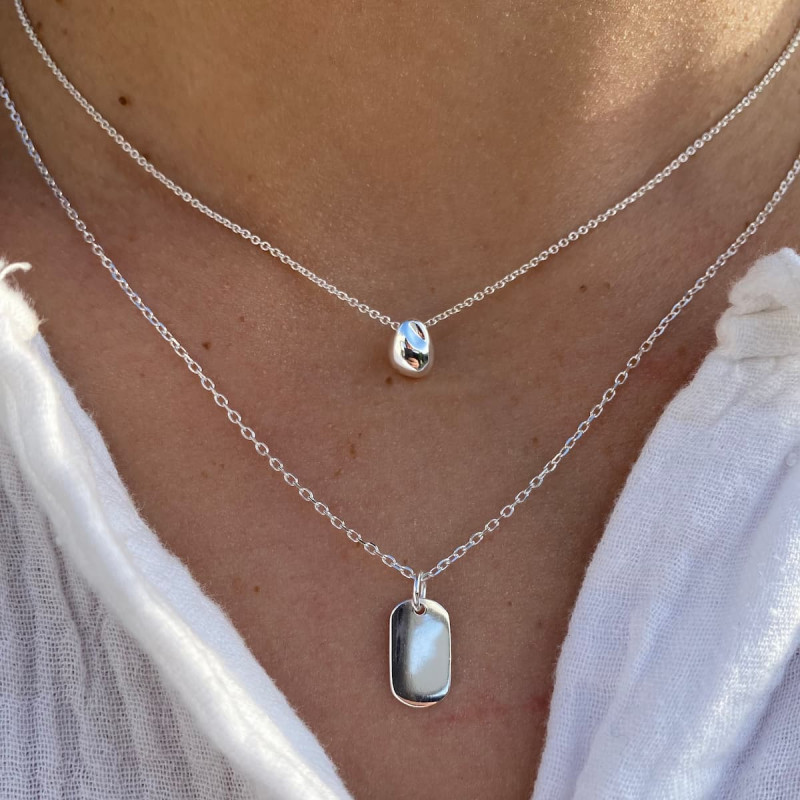 925 Silver drop & oval necklace set