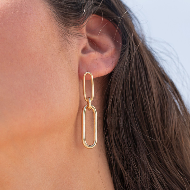 Gold-plated hanging ovals earrings