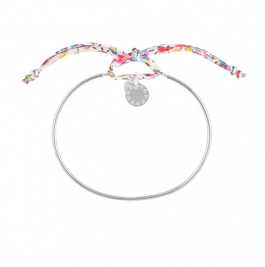 Liberty bangle bracelet with small beaded medal