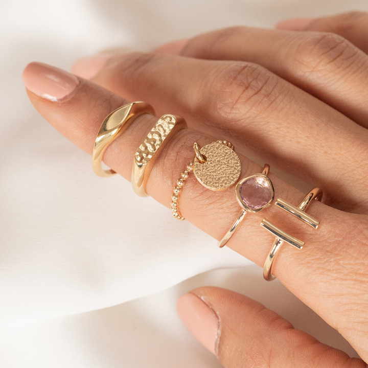 Gold-plated thin ring with small beads & small granite medal