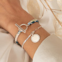 925 Silver half bangle and large link chain bracelet with beaded medal