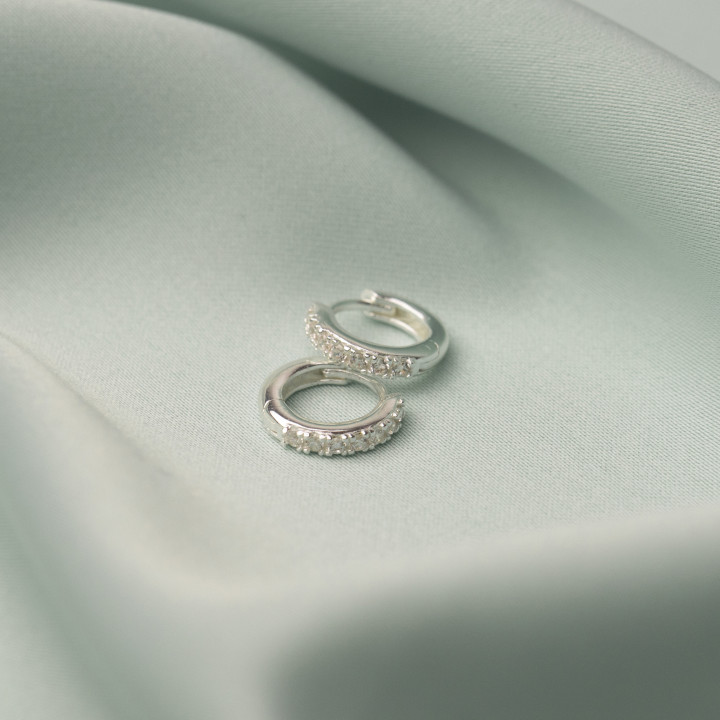 925 Silver small hoop earrings with zircons