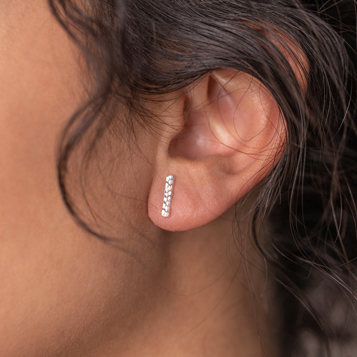 925 Silver hammered rods stud earrings