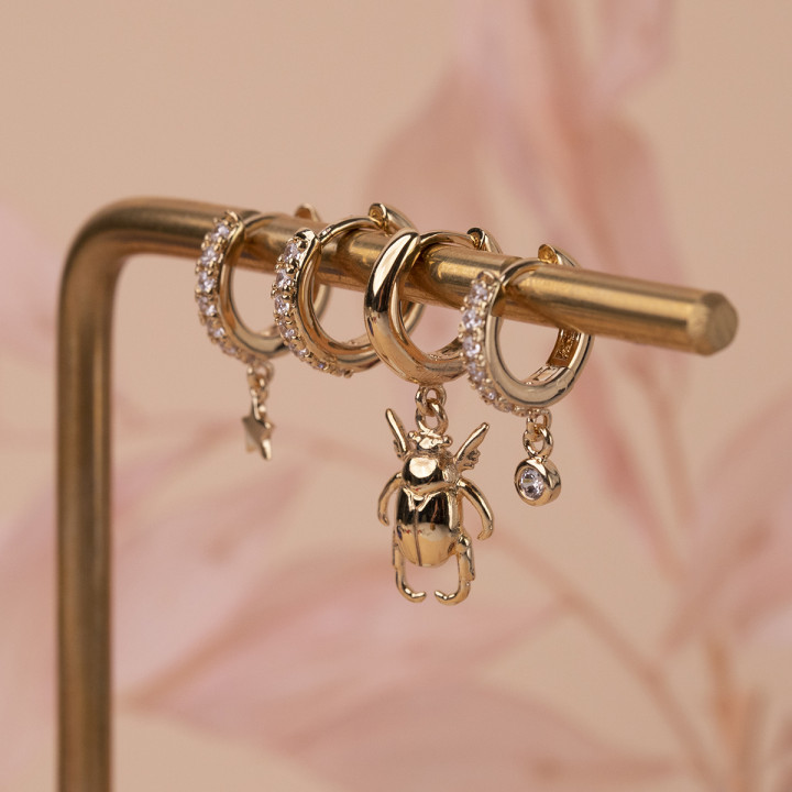 Gold-plated small hoop earrings with zircons