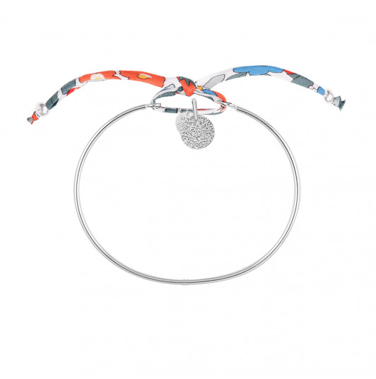 Liberty bangle bracelet with small granite medal