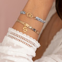 Liberty bracelet with little gold-plated handcuffs