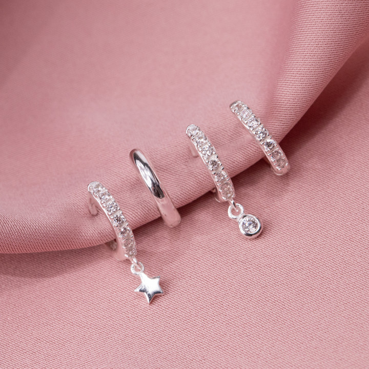 925 Silver hoop earrings with zircons & small star medal