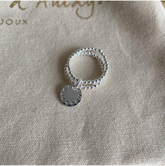 Two-row beaded ring with small beaded medal