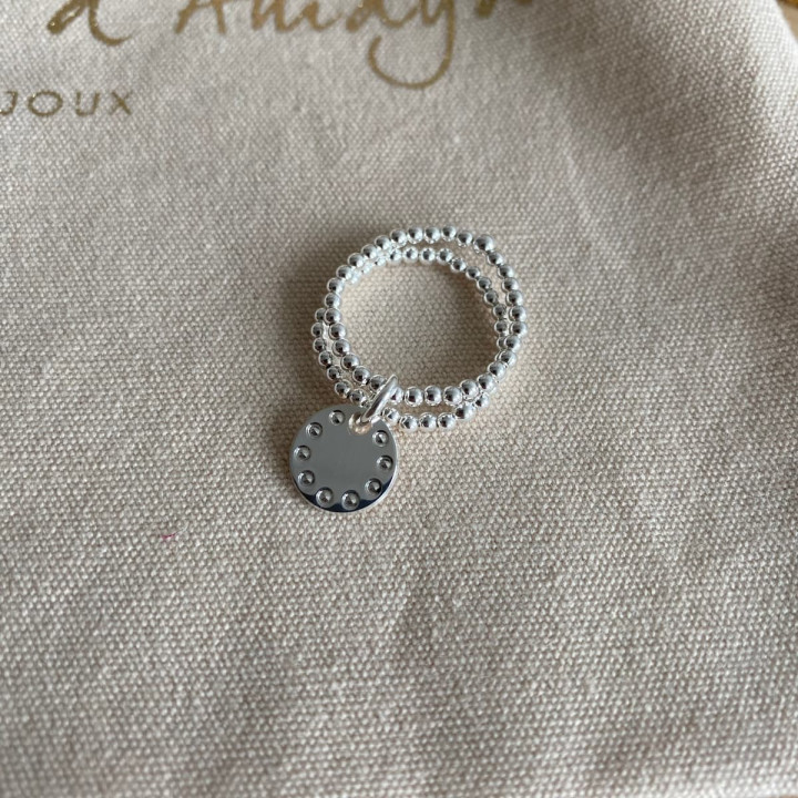 925 Silver two-row beaded ring with small beaded medal