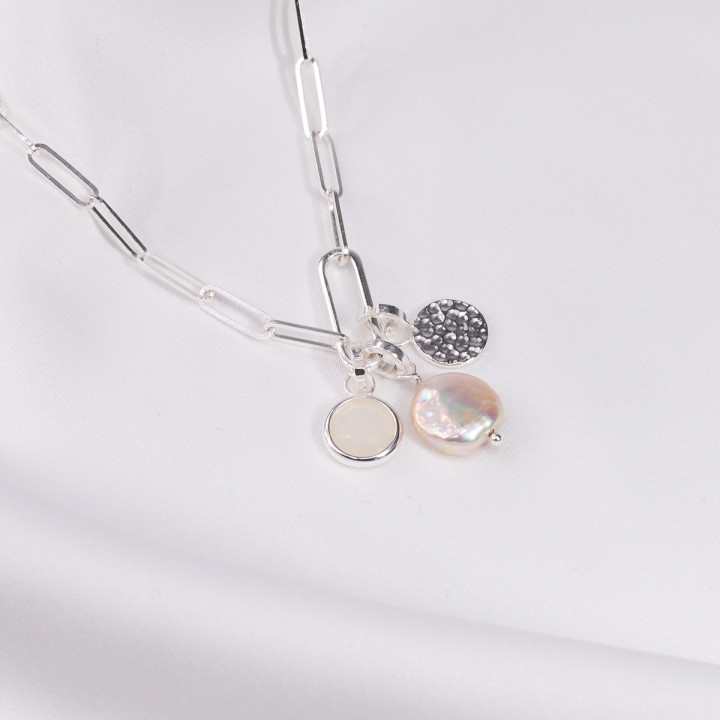 925 Silver large link chain necklace with oval & pendant