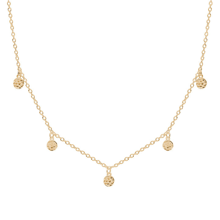 Gold-plated chain necklace with 5 small textured medals