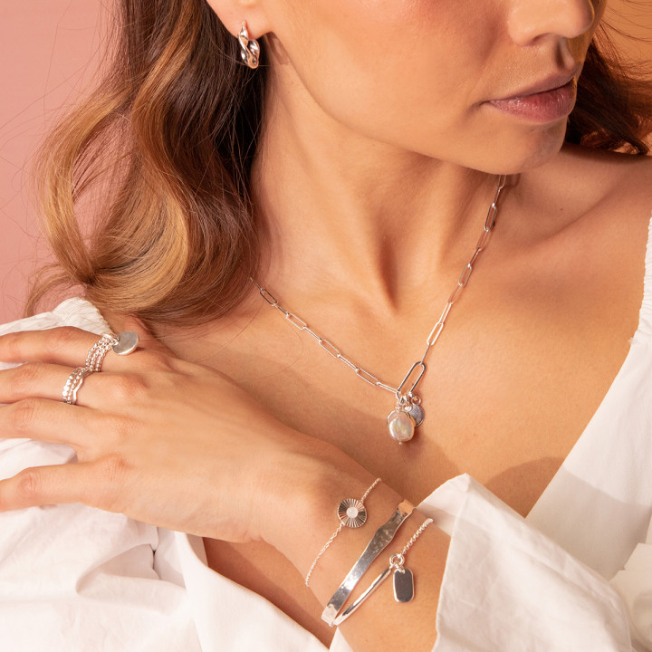 925 Silver half bangle and chain bracelet with small oval medal