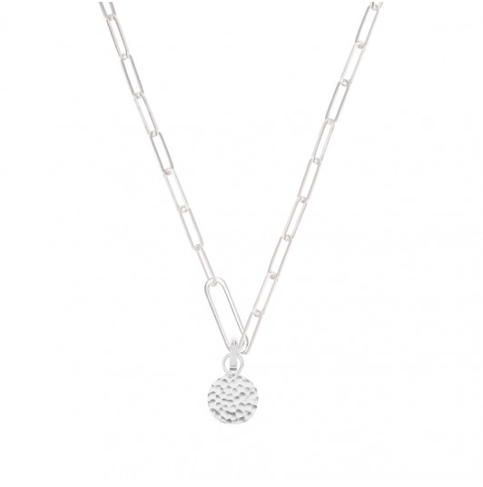 Large link chain necklace with oval & pendant