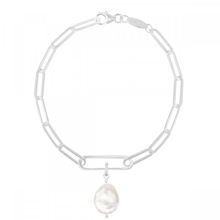 925 Silver large link chain bracelet with oval & pendant