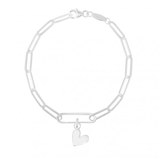 Large link chain bracelet with oval & pendant