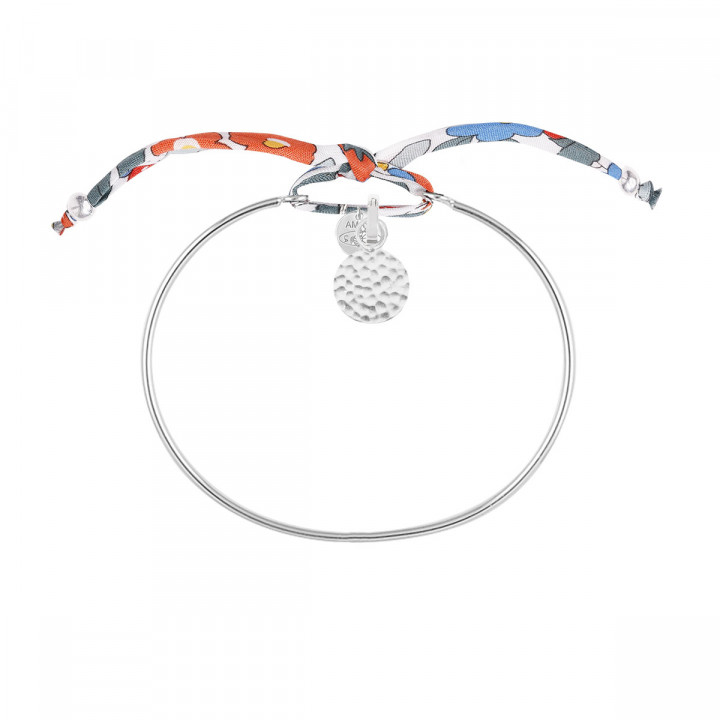 925 Silver Liberty bangle bracelet with small granite medal
