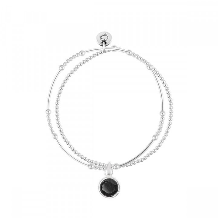 925 Silver two-row beads bracelet with pendant