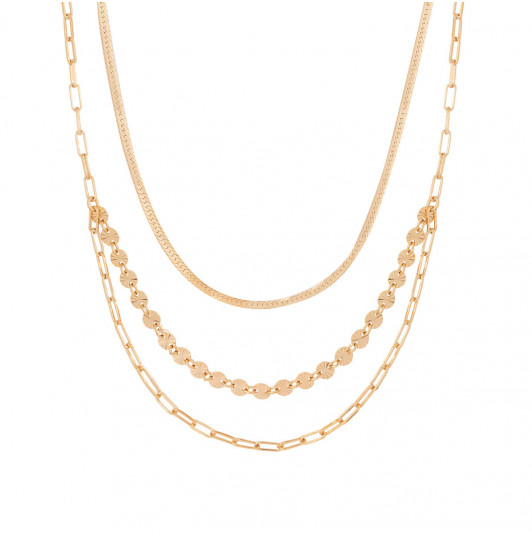Triple row necklace with fancy chains