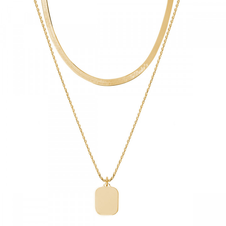 Gold-plated two row snake chain necklace with rectangular medal