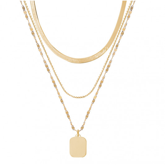 Triple row necklace with rectangular medal