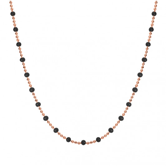 Mini black beads chain necklace