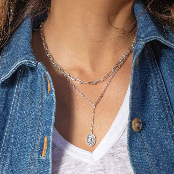925 Silver chain necklace with large links & beetle medal