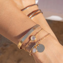 Gold-plated beaded chain bracelet with moonstone medal
