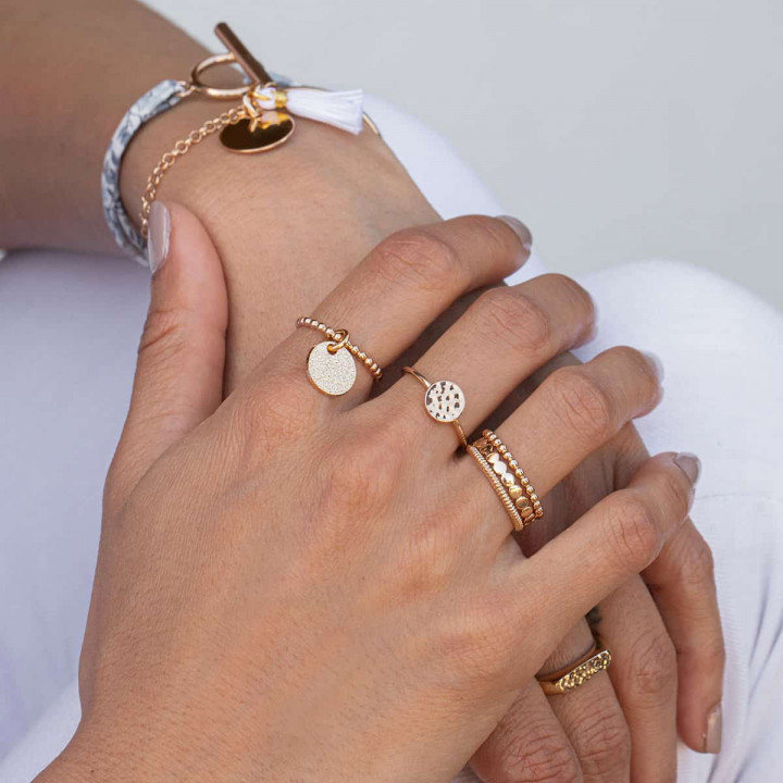 Gold-plated striated band ring
