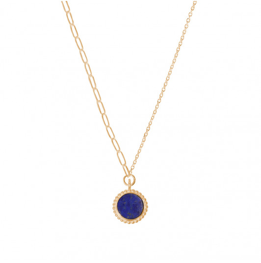 Large link chain necklace with beaded Lapis Lazuli medal
