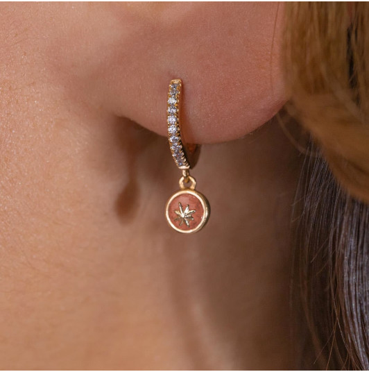 Hoop earrings with zircons & Agate star medal