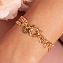 Gold-plated three-row chain bracelet with buoy clasp