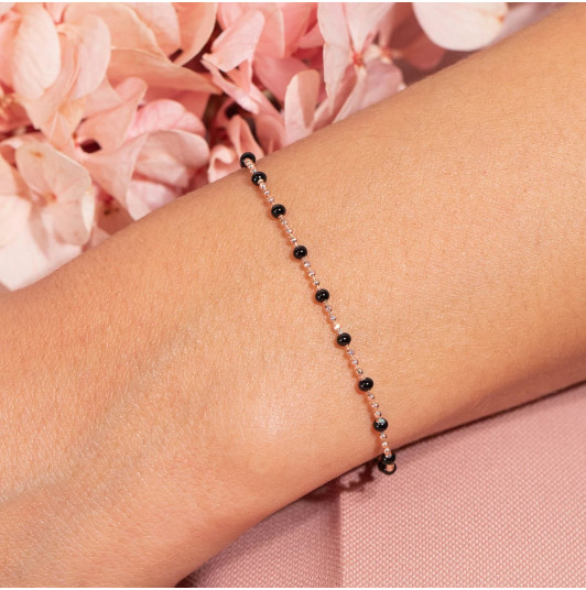 Chain bracelet with small black beads