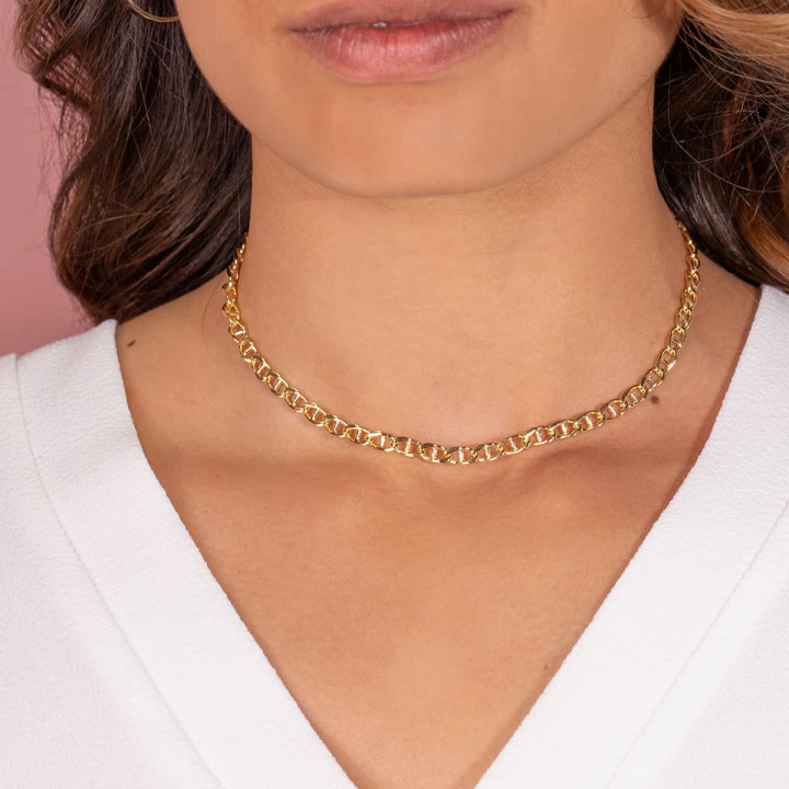 Gold-plated navy mesh chain necklace