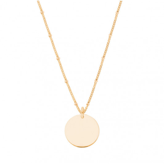 Flat beaded chain necklace with medal