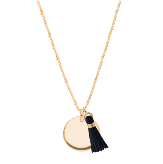 Flat beaded chain necklace with curved medal & pompom