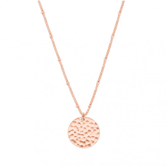 Flat beaded chain necklace with hammered medal