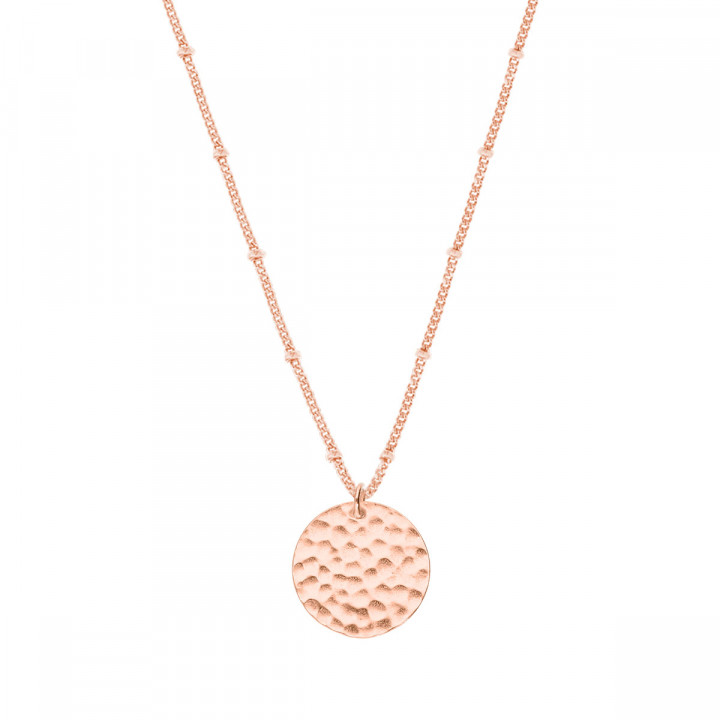 Rose gold-plated flat beaded chain necklace with hammered medal