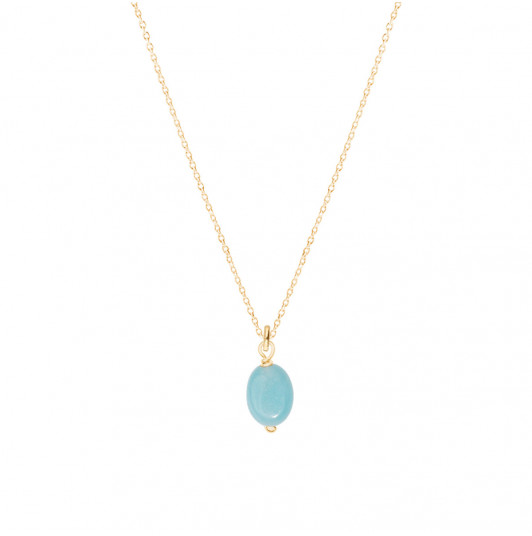 Chain necklace with oval Amazonite stone