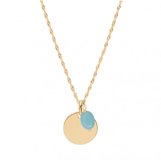 Thick twisted chain necklace with medal & oval Amazonite
