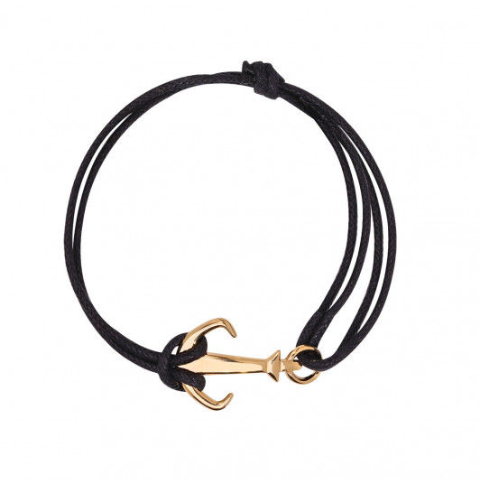 Waxed tie bracelet with Marine anchor for men