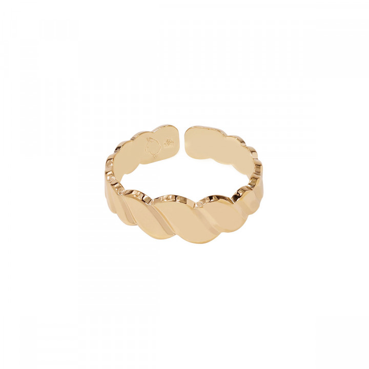 Gold-plated ajustable ring with striated waves